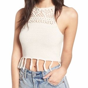 Ten Sixty Sherman Fringe Sweater Halter Top